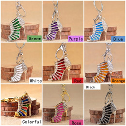 Wholesale High Heel Bottle - Shoe Keychain Cute Crystal High Heeled Rhinestone Key Chains Purse Pendant Bags Cars Shoe Ring Holder Chains Key Rings For Gifts C1L