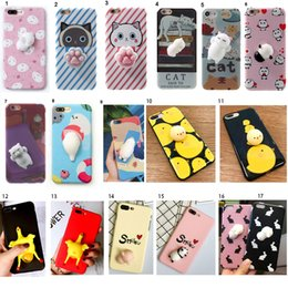 Wholesale Panda Gold - Lovely Cartoon 3D Soft Squishy Toys Squeeze Lazy Cat Panda Seal Case Back Cover Silicone for iPhone 7 6s 6 Plus