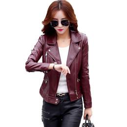 Wholesale Wine Leather Woman Jacket - Leather Jacket women Spring and Autumn Leather Coat Women Short Slim Motorcycle Leather Clothing Female Outerwear Wine Black 150