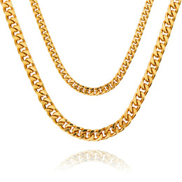 Wholesale Mens Heavy Gold Chains - 2017 new Heavy Cool Mens Solid Gold Fashion Thick Miami Cuban Lin Necklace 75cm Chain Hip Hop Rock Trendy Jewelry For Men Women Gift