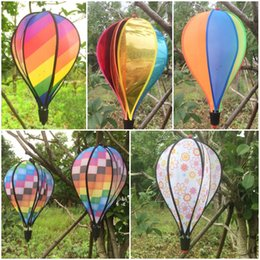 Wholesale Kite Tails - Rainbow Stripe Hot Air Balloon With Tail Large Rainbow Beach Kites 5 Styles Colorful Kinetic Hanging Garden Decor Free DHL G7L