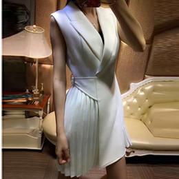 Wholesale Viscose Twill - Designer Dress Women's Sleeveless Pleated Notched Collar Wrap Dress