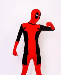 Wholesale Zentai Cheap - (DP915) Black And Red Tights Unisex Cheap Deadpool Fetish Zentai Suits Superhero Cosplay Halloween Party Costume