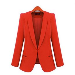 Wholesale Jackets Hidden Pockets - New Spring 2017 Women Blazers plus size fashion female slim blazer Ol Candy Color suit jacket ladies office coat Maxi Size S-4xl