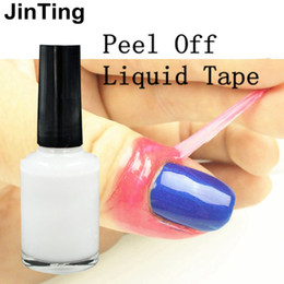 Wholesale Peel Off Base Coat - Wholesale-JinTing White Peel Off Liquid Nail Art Tape Latex Tape Palisade For Easy Clean Base Gel Coat