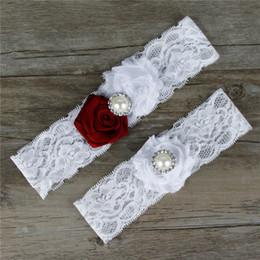 Wholesale Green Wedding Garters - Original handmade bead plate flower wedding bridal gowns wedding Accessories Sexy Lingerie Leg Foot Ring Loops Laciness Lace Garter Belt TH0