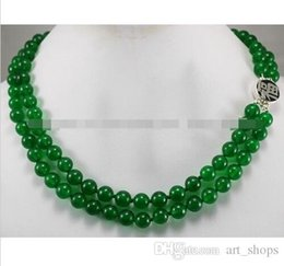 Wholesale 8mm Green Jade Beads - 2rows 8mm Green Jade Round Beads Gemstones Jewelry Necklace Silver Clasp AAA
