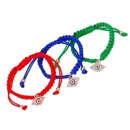 Wholesale white gold friendship bracelets - Handmade eyes hamsa charms weave bracelets gold color for women wholesale lots blue red rope bracelet friendship gift new fashion
