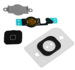 Wholesale Button Black Home 4s - Home Keypads For iPhone 4 4S 5 5C 5S Home Button With Flex Cable Assembly Replacement Part Black White Gold Free By DHL