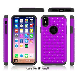 Wholesale Cheap Rhinestones Cases - Luxury Glitter Rhinestone Phone Case For iphone 8 Anti-Fingerprints Shockproof Anti-Scratch Silicone PC Case Wholesale Cheap DHL Fast