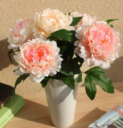Wholesale Single Headed Peonies - 2017 New Free Shipping home wedding decoration flowers silk artificial single head peony flowers 10pcs lot