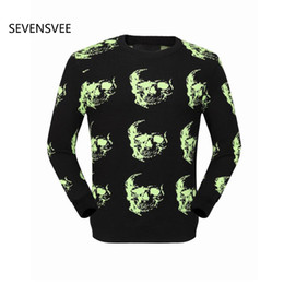 Wholesale Hoodie Zip Mens - Wholesale- 2015 Fashion famous brand mens cotton printed skull hoodies zipped black and white side quilted detailing sportswear