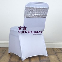 Wholesale Silver Wedding Banquet Chair Covers - New Design Lycra Spandex Chair Band Back With Sequin Fabric For Wedding Banquet Chair Cover - Silver Color