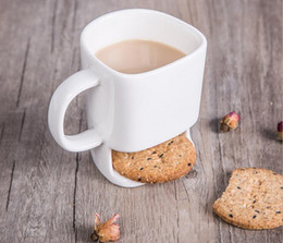 Wholesale Biscuit Pocket - Good Price 48pcs 250ml Ceramic Coffee Cup Side Cookie Biscuit Pocket Holder Milk Juice Lemon Mug Drinkware For Friend Birthday Gift