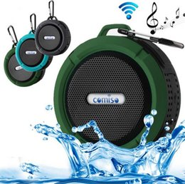 Wholesale Suction Hook Wholesale - C6 Outdoor Sports Shower Portable Waterproof Wireless Bluetooth Speaker Suction Cup Handsfree MIC Voice with Holder Hook In Box Free DHL