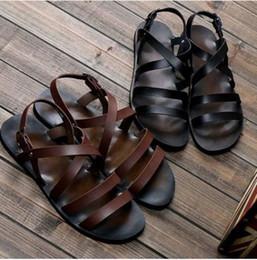 Wholesale Roman Gladiator Sandals Men - 2015 Summer new fashion Casual man leather sandals, Roman sandals beach shoes Man Sandals & Flip Flops, EU38-43!