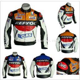 Wholesale Pu Leather Jacket Xxl - Free shipping REPSOL PU men's motorcycle jacket motorcycle racing jacket PU leather motorcycle jacket