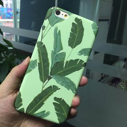 Wholesale banana for iphone - Ultra Thin Summer Banana leaves Case For iphone X 7 8 6 6s plus Hard PC Fundas Art Cartoon Plants Cover