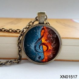 Wholesale Fire Half - Wholesale-Free shipping fashion musical notes necklace music is one half water and one half fire Zinc alloy Glass pendant retro necklace