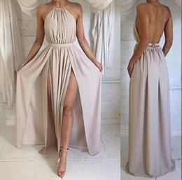 Wholesale Maxi Gown Halter Neck - 2017 Cheap Sexy Split Backless Chiffon Evening Gowns A Line Halter Neck Sleeveless Summer Maxi Dresses Prom Dresses BA2735