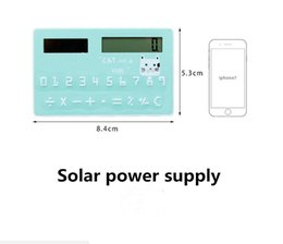 Wholesale Free Mini Calculator - Free Shiping Portable Calculator Mini Handheld Ultra-Thin Card Stationery Card Calculator Solar Power Small Slim Travel Pocket Calculator