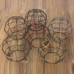 Wholesale Ancient Light Bulb - New Edison Iron Vintage Ancient Hanging Ceiling Lamp Bulb Light Fitting Guard Wire Cage Cafe Lampshade Lamp Cover 155x185mm
