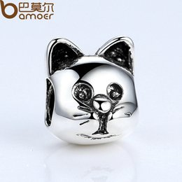 Wholesale European Style Cat Bead Wholesale - Pandora Style 1 pcs Free Shipping Silver Color Lovely Cat Animal Pattern European Charms for Bead Bracelets Necklace DIY Accessories