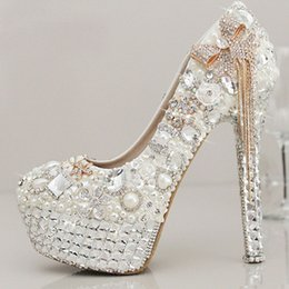Wholesale Sparkle White Heels - Sparkling White Crystal Pearls Wedding Shoes With Tassels Round Toe 10 cm High heel Platform Bridal Gown Party Pumps For Women 2017