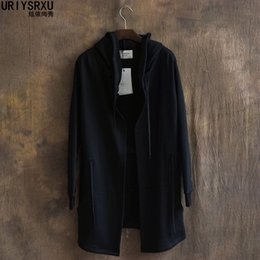 Wholesale Trench Coat For Big Men - Wholesale-The mainstream pure color hooded men long thin paragraph cardigan trench coat hoodie Big yards wide hood shirt for men