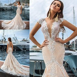 Wholesale Lace Plunging Sexy Wedding Dress - 2017 Vintage Full Lace Mermaid Wedding Dresses Sexy Plunging V Neck Backless Cap Sleeves Appliques Long Train Bridal Gowns Summer Beach