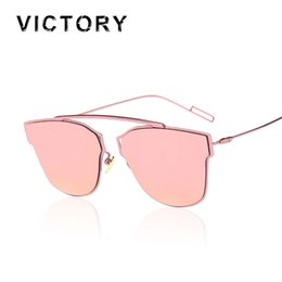 Wholesale Bridge Sale - Wholesale-New Arrival 2016 Cat Eye Mirror Sunglasses Single-Bridge Women Or Lady CHROMIC UV400 Point Sun Glasses Oculos de sol Hot Sale