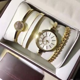 Wholesale Round Silver Ring Box - New Women 4 Sets watch ring bracelet Casual brand Dress Gold Quartz wrist watches for lady Female girl With Gift Box Free Shipping