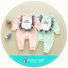 Wholesale Long Cotton Bibs - INS Korean styles new arrivals fall baby kids climbing romper 100% cotton letter print long sleeve with bib girl boy autumn rompers