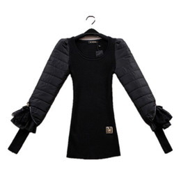 Wholesale Thin Lace Sweater - Wholesale-black autumn winter basic thin wool sweater eiderdown cotton bow lace long sleeve slim body women pullovers sweaters FZ14JUN023