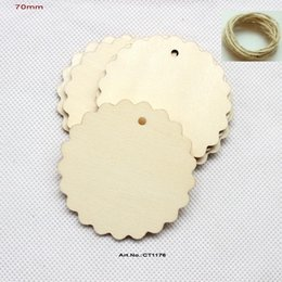Wholesale Unfinished Wooden Circles - Wholesale- (40pcs lot) Natural unfinished large circle wood disk cutouts round wooden disc wedding crafts strings 70MM-CT1176