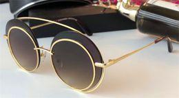 Wholesale Metal Sunglasses Big Box - New fashion women designer sunglasses round metal frame big lens special design top quality uv400 protection eyewear with original box 0043