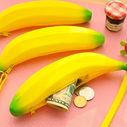 Wholesale Banana Keychain - Wholesale- Novelty 3D Silicone Portable Banana Coin Pencil Keychain Clutch Case Purse Bag Case Uisex Men Women Girl Pouch Wallet Gift
