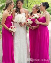 Wholesale Hot Pink Bridesmaids - Chiffon Fuschia Bridesmaids Dresses Long Floor Length Plus Size Strapless Beach Maid of Honor Dresses Hot Pink Vintage