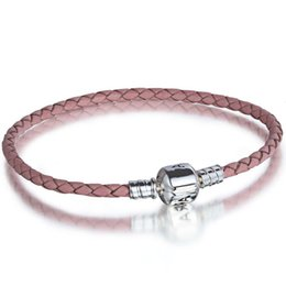Wholesale Pink Beaded Chain - 2017 New Pink Fashion Leather Bracelet 925 Sterling Silver Bangle Hand Chain Fit European Charms Beads 18-21CM Length Free Shipping New