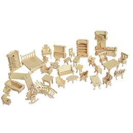 miniature 12 Sconti 34 Pz / set Miniature 1:12 Mobili casa delle bambole per bambole, Mini 3D Puzzle in legno fai da te giocattoli modello di edificio per i bambini regalo