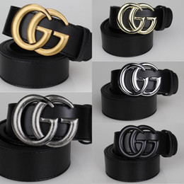 Wholesale Alloy Stock - in stock 2018 newest fashion letters buckle men & woman belts 105cm-125cm luxury brand smooth buckle 5 colors for gift