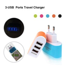 Wholesale Plug Retail - 2017 Hot Sale EU Plug 3 USB Port LED Light Wall Charger Home Travel Charger Power Adapter For iPhone 6 6S 7 Plus With Retail Package