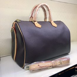 Wholesale Top Quality Leather Bags - TOP quality BRAND NEW! ALL STYLES YOU NEED !!! 3 size! Genuine Leather AAAAA Speedy bag White brown black checks