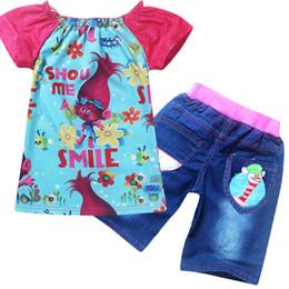 a4c220b3a33cd Trolls filles de bande dessinée à manches courtes T-shirt + Denim Shorts  2pcs ensembles enfants tenues vêtements pour enfants 2 couleurs TA130  abordable ...