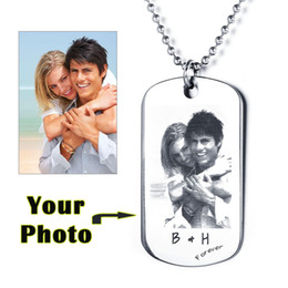 Wholesale Wholesale Personalized Photo Gifts - Wholesale- Father's Day Gift Personalized Photo Tag Custom Engraving Picture Text Necklace Stainless Steal Pendant For Lover
