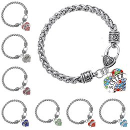 Wholesale Bracelet Link Types - 58 TYPE Diamond Crystal Heart Bracelets Family Love Aunt Best Friend MOM GRANDMA Believe Heart Charm Antique Silver Chain for Women 161958