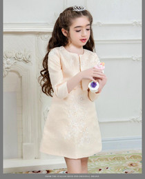 Wholesale Two Piece Coat Dress Girls - Flower girl dresses for weddings brand dress and coat two piece set size 5 6 7 8 9 10 11 12 13 14 15 16 years old teenagers kid