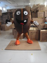 Wholesale Large Beans - 2017 Vivid Dark Brown Coffee Bean Mascot Costume Robusta Bean With Large Mouth Mascotte Mascota Adult Party Outfit