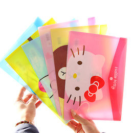 Wholesale Document Transparent - Wholesale- 8pcs lot Mixed Design Korean Stationery Student PVC File Bag Cute Plastic Transparent Waterproof A4 Portable Documents Pouch WZ