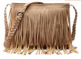 Wholesale Cheap Small Envelopes - Hot Sale Women's Suede Weave Tassel Shoulder handbags Messenger Bag fashion Fringe satchel handbags cheap